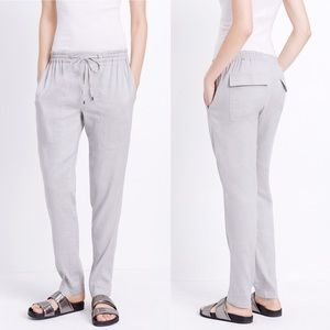 Vince Drawstring Linen Pants Dark Gray